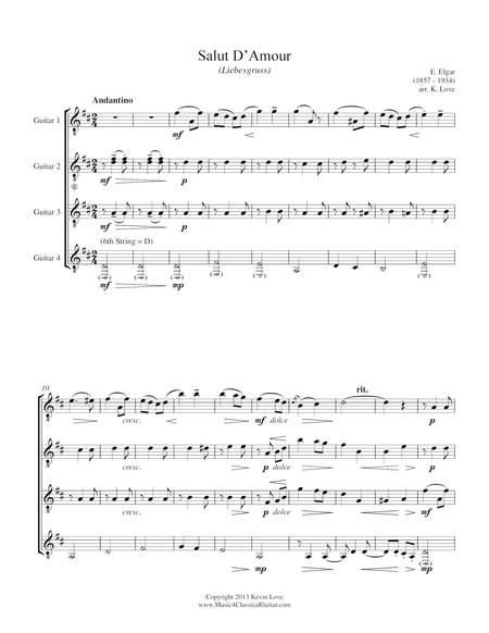 Salut D'Amour (Guitar Quartet) - Score and Parts