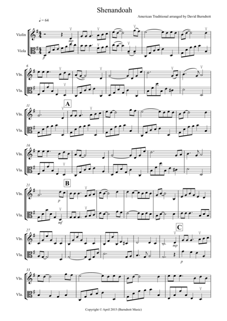 Shenandoah for Violin and Viola