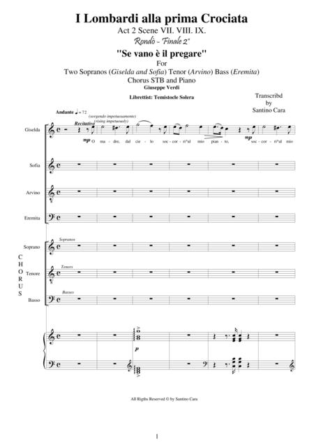 Verdi - I Lombardi (Act2-VII-VIII-IX) Se vano è il pregare - Solo voices, chorus and piano