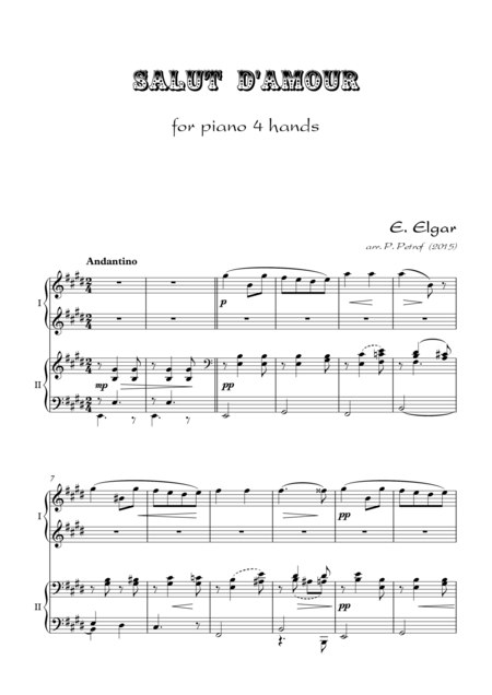 Salut  d'Amour - for piano 4 hands