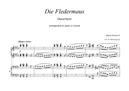 Die Fledermaus - Ouverture - for piano 4 hands