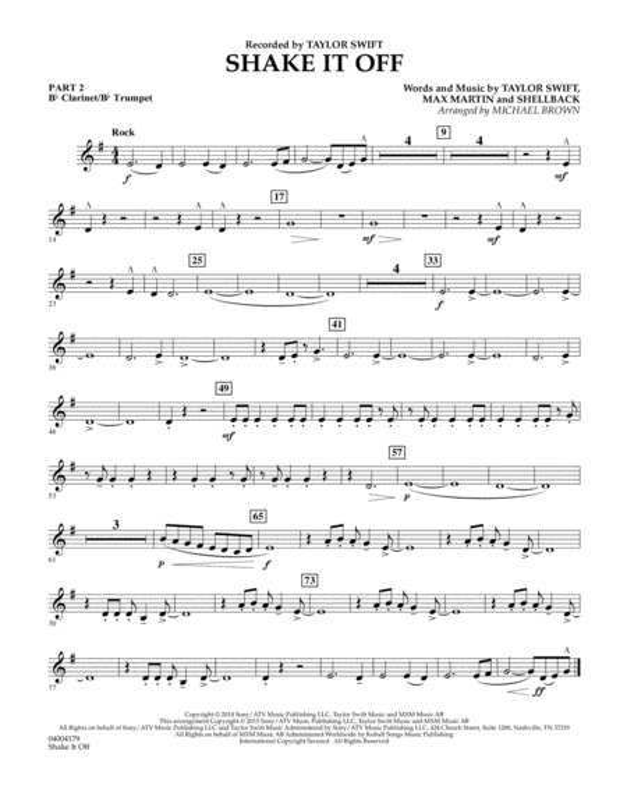 Shake It Off - Pt.2 - Bb Clarinet/Bb Trumpet
