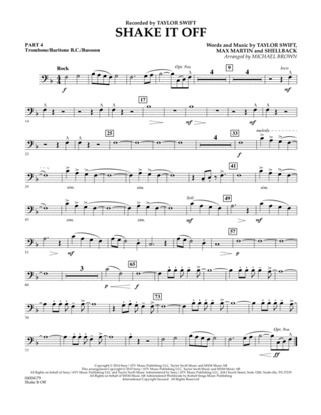 Shake It Off - Pt.4 - Trombone/Bar. B.C./Bsn.
