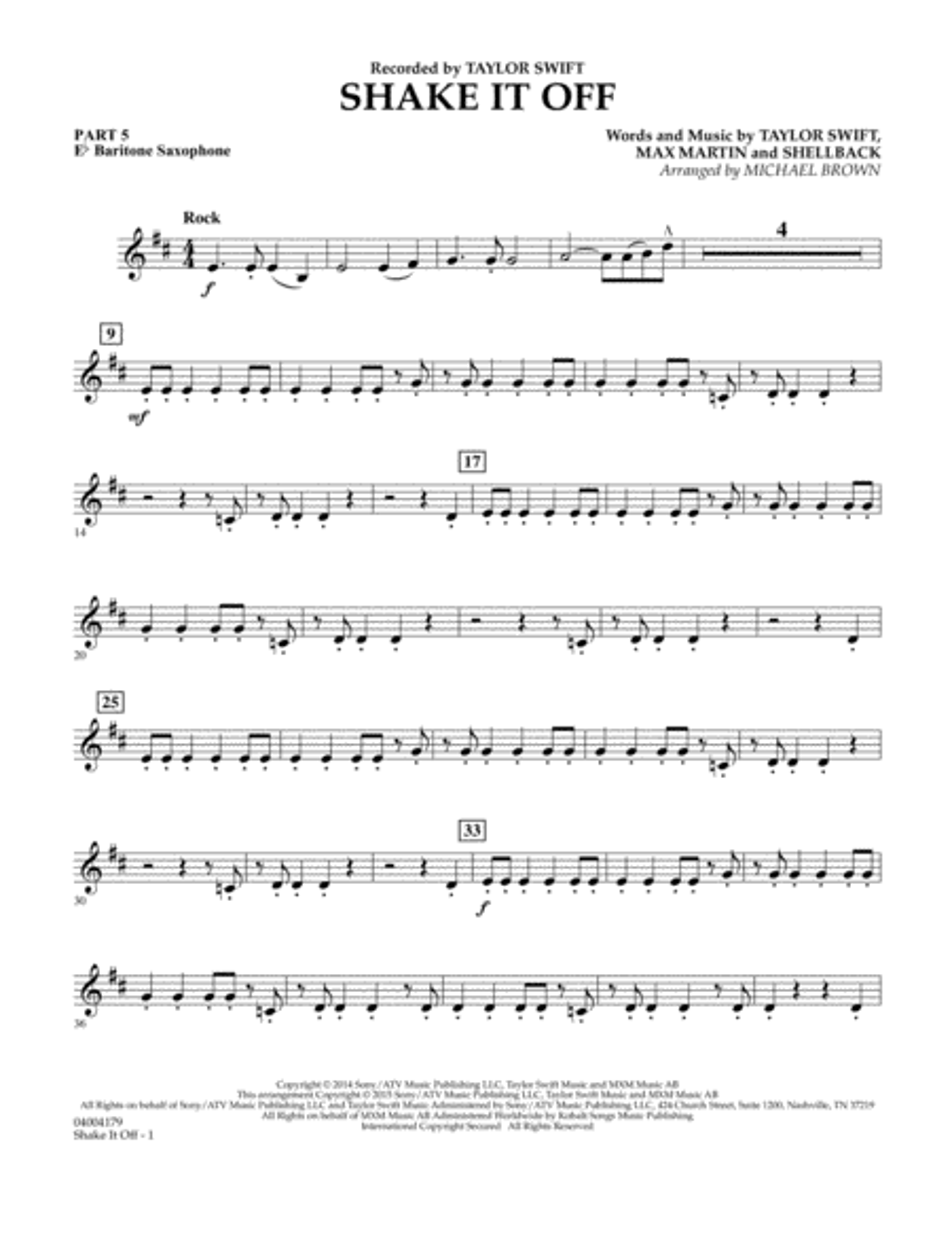 Shake It Off - Pt.5 - Eb Baritone Saxophone