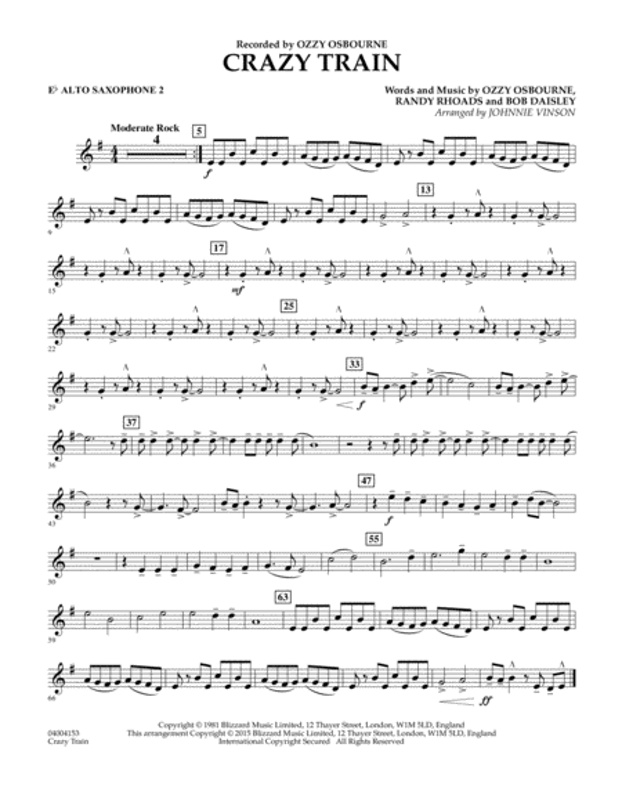Crazy Train - Eb Alto Saxophone 2