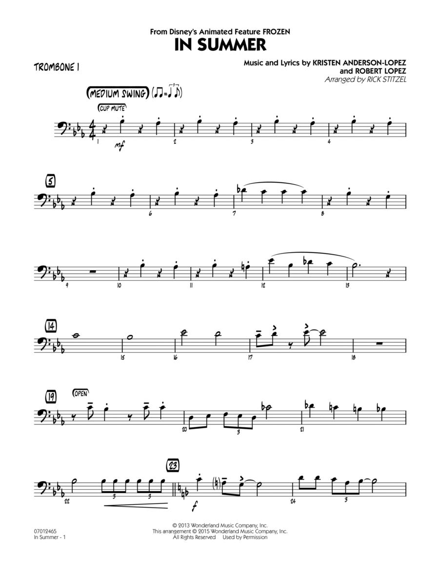 In Summer (from Frozen) - Trombone 1
