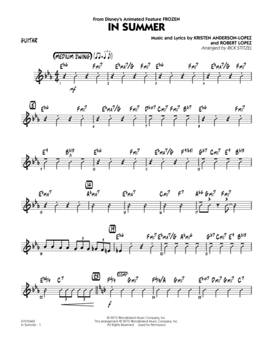 In Summer (from Frozen) - Guitar