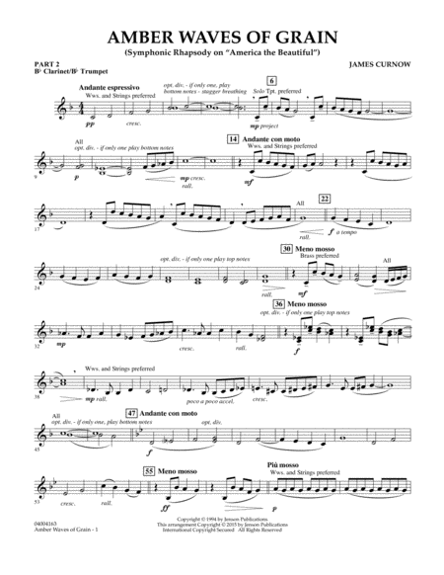 Amber Waves of Grain - Pt.2 - Bb Clarinet/Bb Trumpet