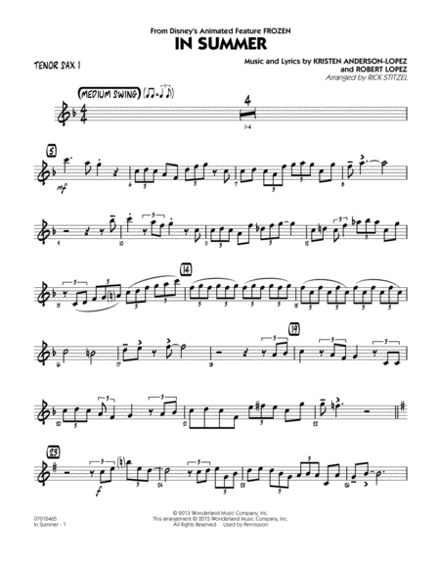 In Summer (from Frozen) - Tenor Sax 1