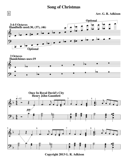 Song of Christmas (for 3, 4 or 5 octave handbell choirs)