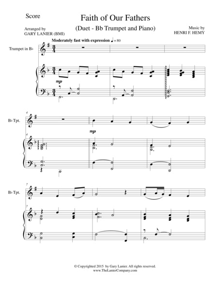 FAITH OF OUR FATHERS (Duet – Bb Trumpet and Piano/Score and Parts)