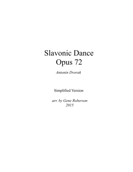Slavonic Dance in E minor  Opus 72  SIMPLIFIED VERSION