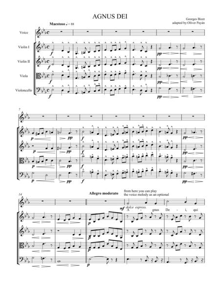 Agnus Dei by G. Bizet Soprano and string quartet