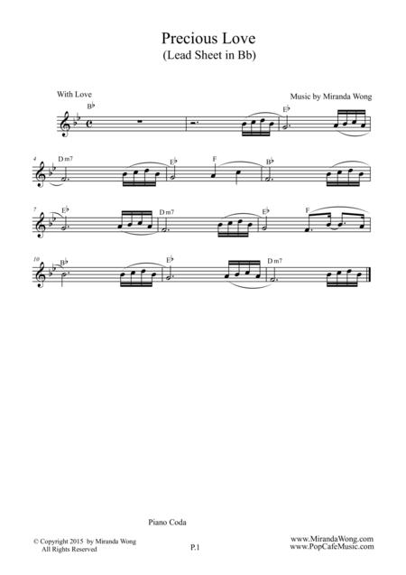 Precious Love - Romantic Wedding Music (Lead Sheet) in Bb Key