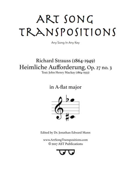 Heimliche Aufforderung, Op. 27 no. 3 (A-flat major)