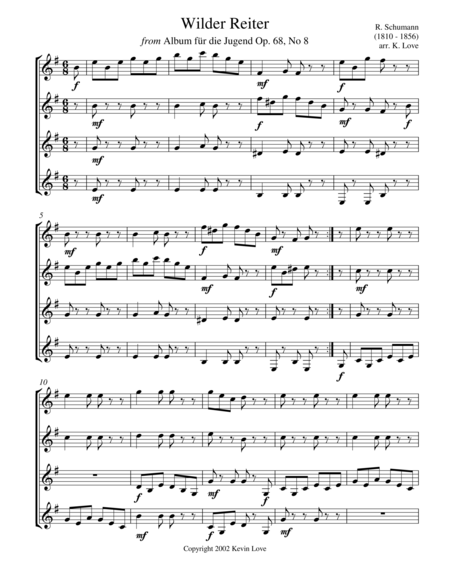 A Little Schumann, Please... (Guitar Quartet) - Score and Parts