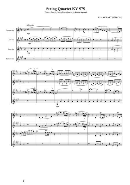 String Quartet KV 575 for Saxophone Quartet (SATB)