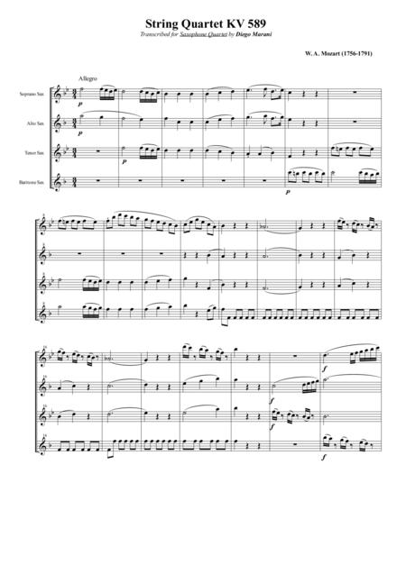 String Quartet KV 589 for Saxophone Quartet (SATB)