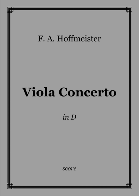 F. A. Hoffmeister - Viola Concerto in D