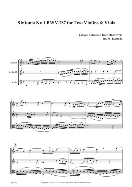 Sinfonia No.1 BWV.787 for Two Violins & Viola