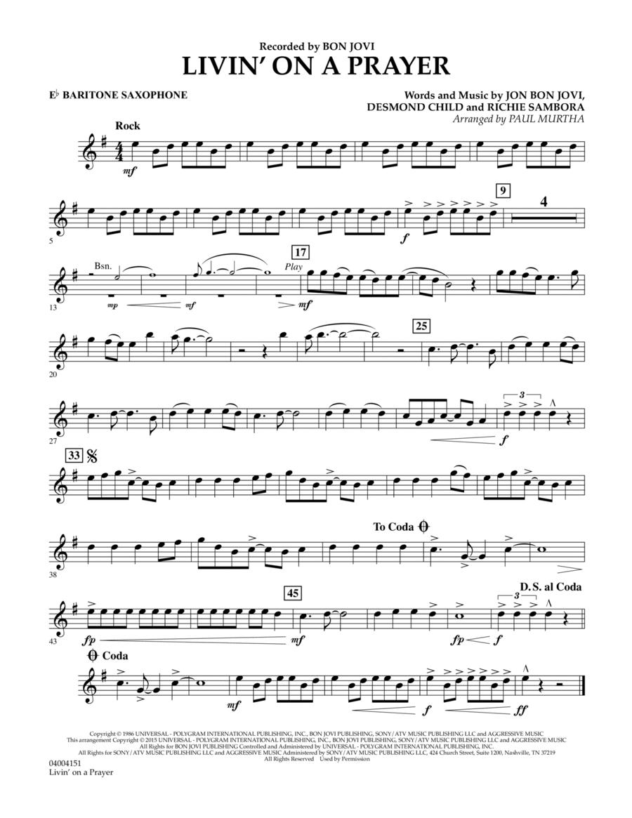Livin' On A Prayer - Eb Baritone Saxophone