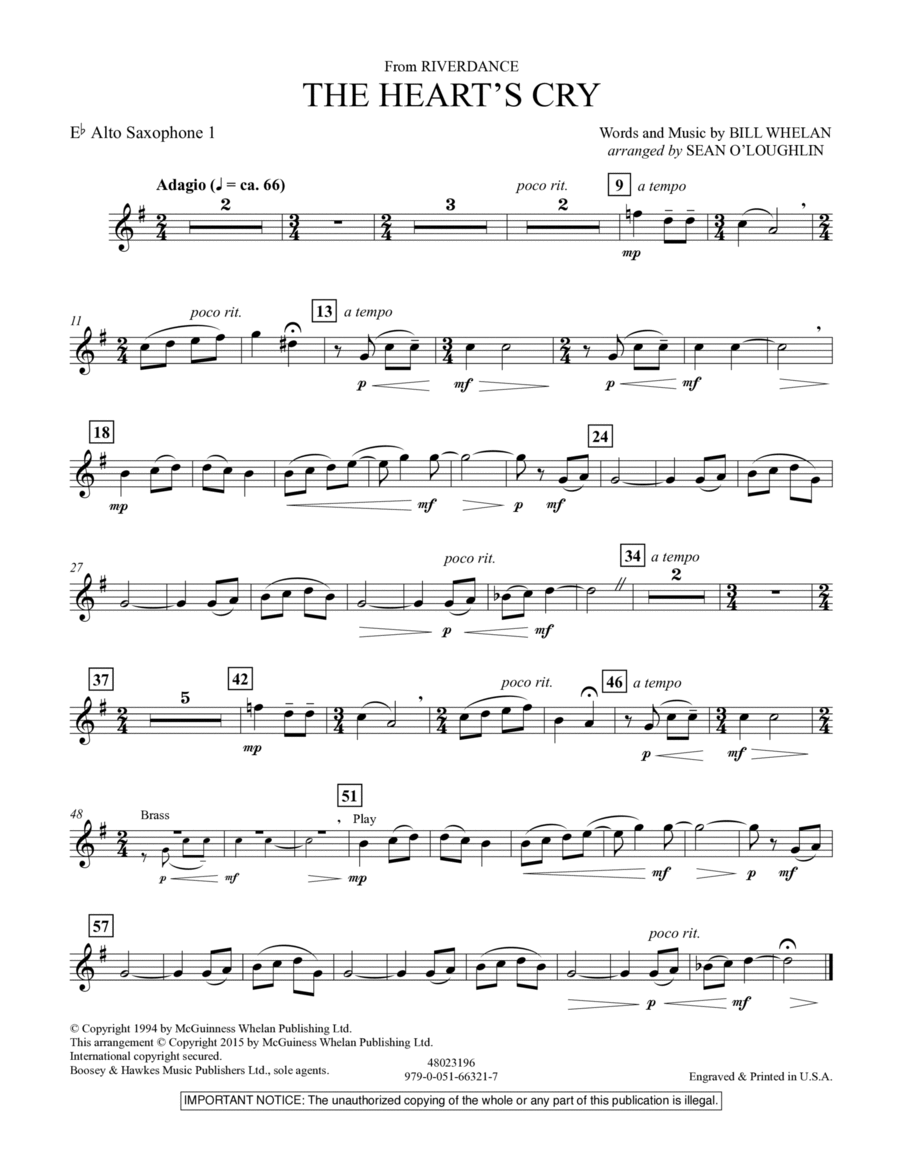 The Heart's Cry (from Riverdance) - Eb Alto Saxophone 1