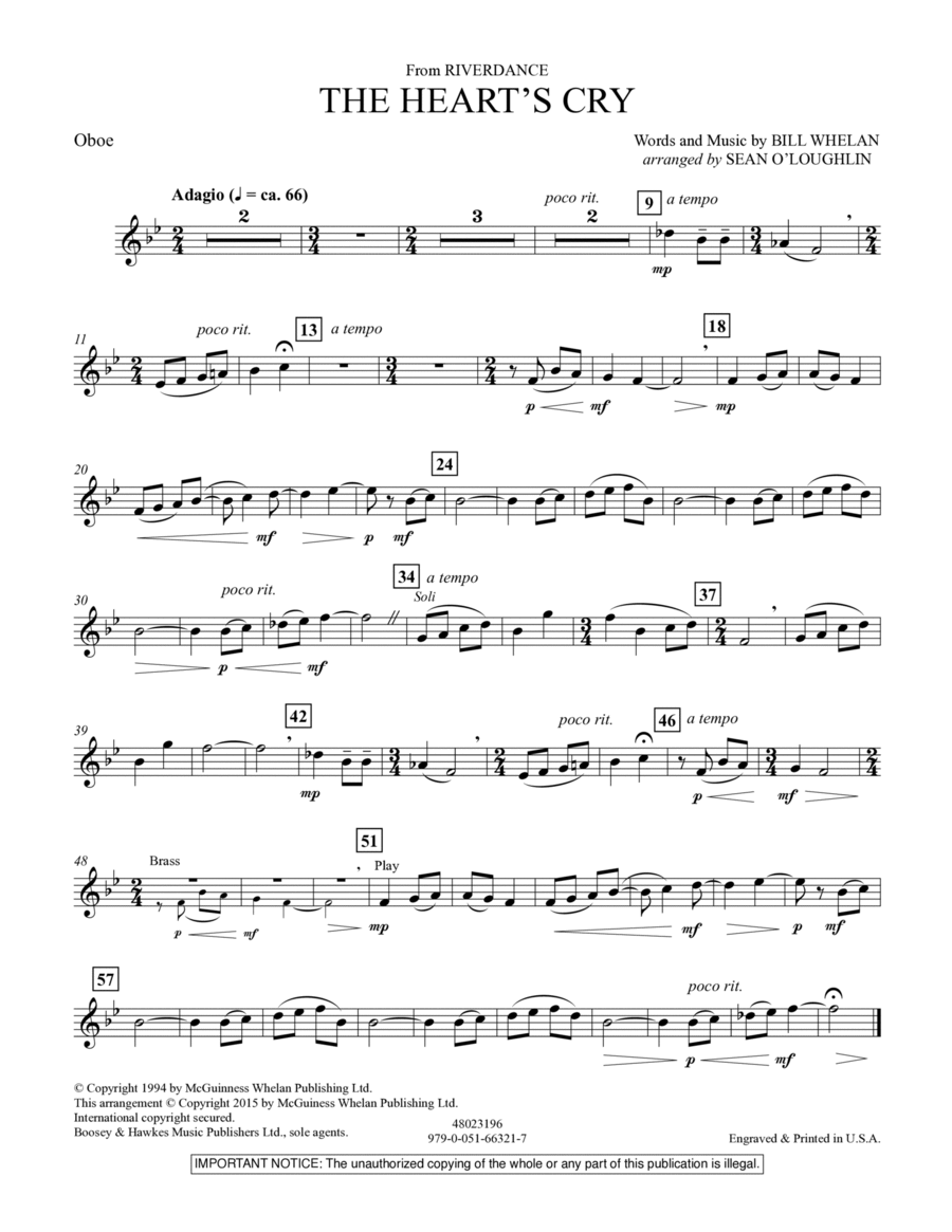 The Heart's Cry (from Riverdance) - Oboe