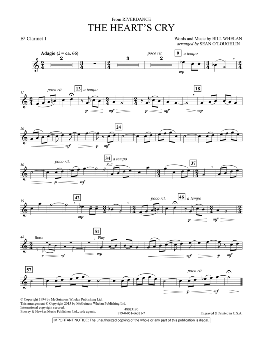 The Heart's Cry (from Riverdance) - Bb Clarinet 1