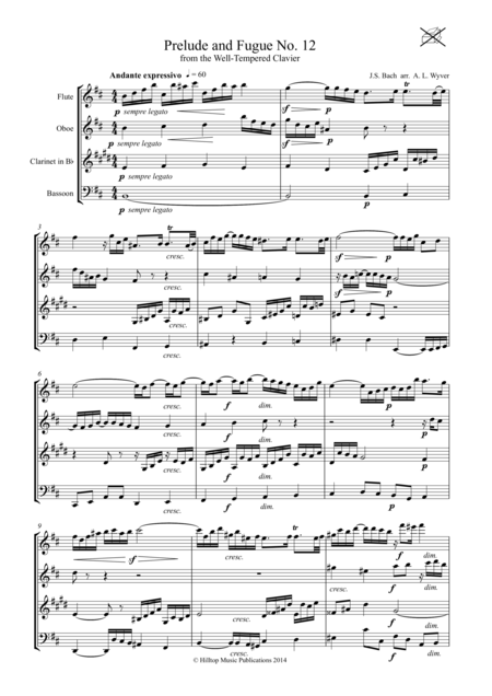 Bach Prelude and Fugue No. 12 arr. Woodwind Quartet