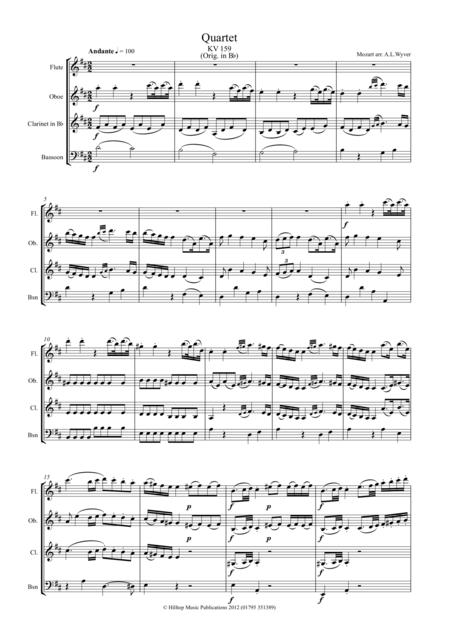 Mozart Quartet KV 159 arr. Woodwind Quartet