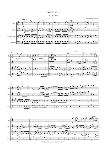 Mozart Quartet KV160 arr. Woodwind Quartet