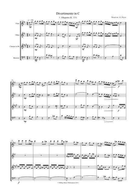 Mozart Divertimento in C arr. Woodwind Quartet