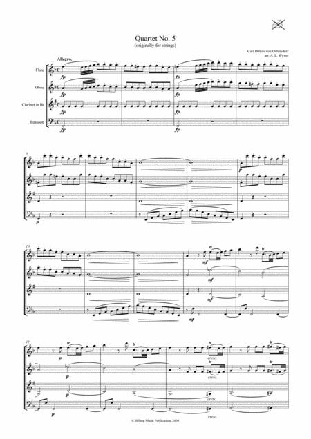 Dittersdorf Quartet No. 5 arr. Woodwind Quartet
