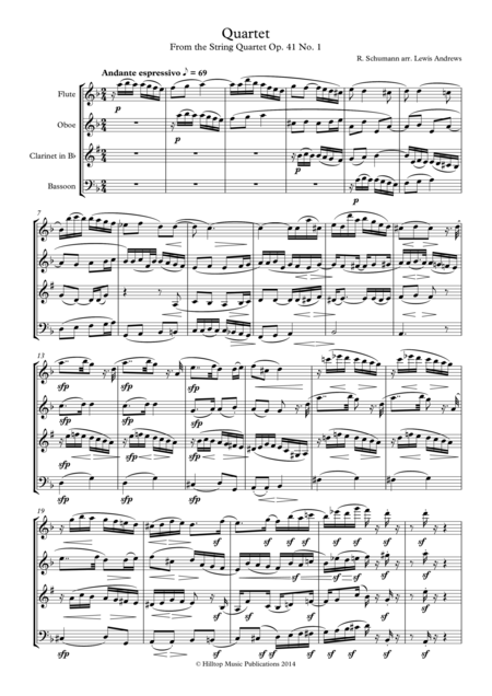 Schumann Quartet Op. 41 No. 1 arr. woodwind quartet