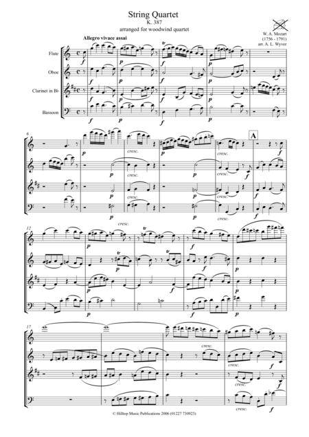 Mozart Quartet K. 387 arr. for woodwind quartet