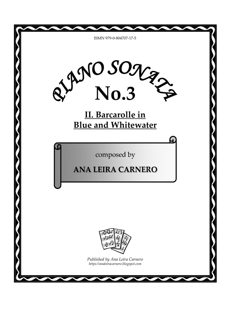 BARCAROLLE IN BLUE AND WHITEWATER for solo piano