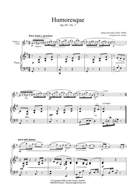Humoresque for violin or flute and piano (easy version)