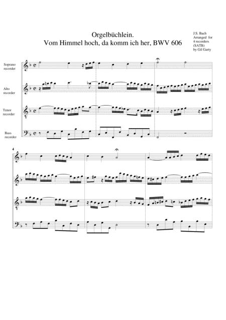 Vom Himmel hoch, da komm ich her, BWV 606 from Orgelbuechlein