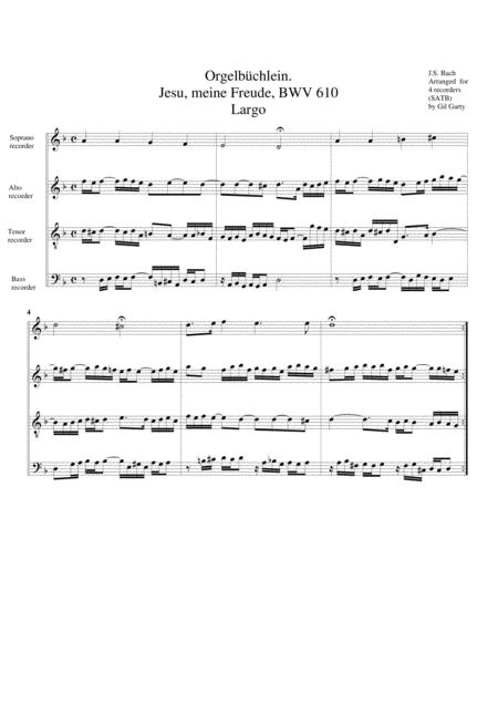 Jesu, meine Freude, BWV 610 from Orgelbuechlein
