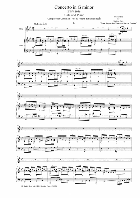 J.S.Bach - Concerto in G minor BWV 1056 - Version for Flute and Piano