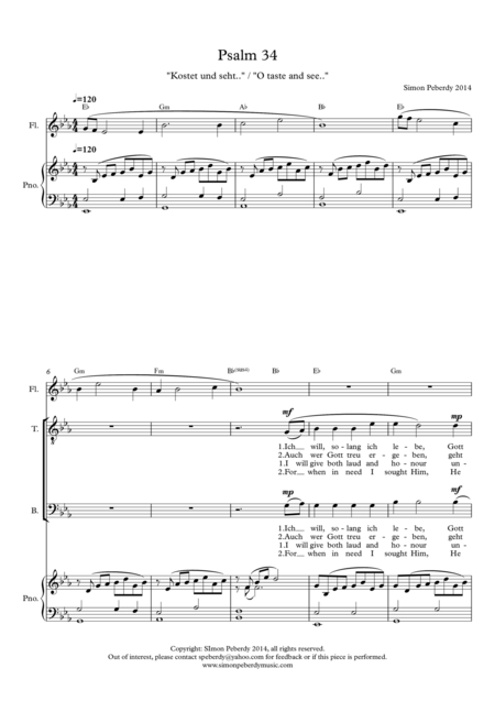 O Taste and See / Kostet und seht (Psalm 34) for STB (or SAB) voices, piano & optional flute