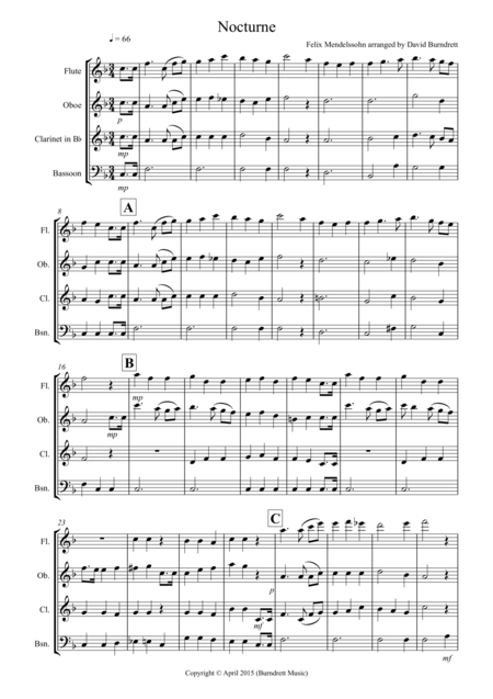 Nocturne (from A Midsummer Night's Dream) for Wind Quartet
