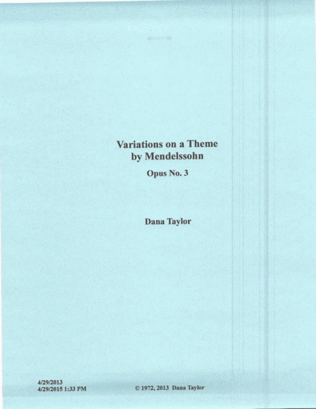 Variations On a Theme by Mendelssohn