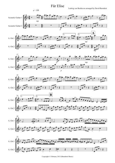 Für Elise  for  Guitar Duet