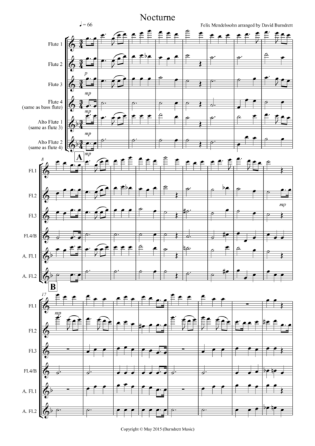 Nocturne (from A Midsummer Night's Dream) for Flute Quartet