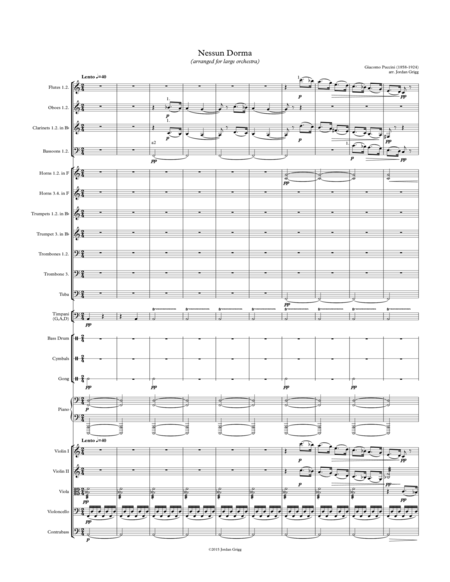 Nessun Dorma (arranged for large orchestra)