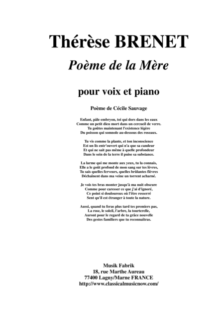 Therese Brenet : Poeme de la Mere for medium voice and piano