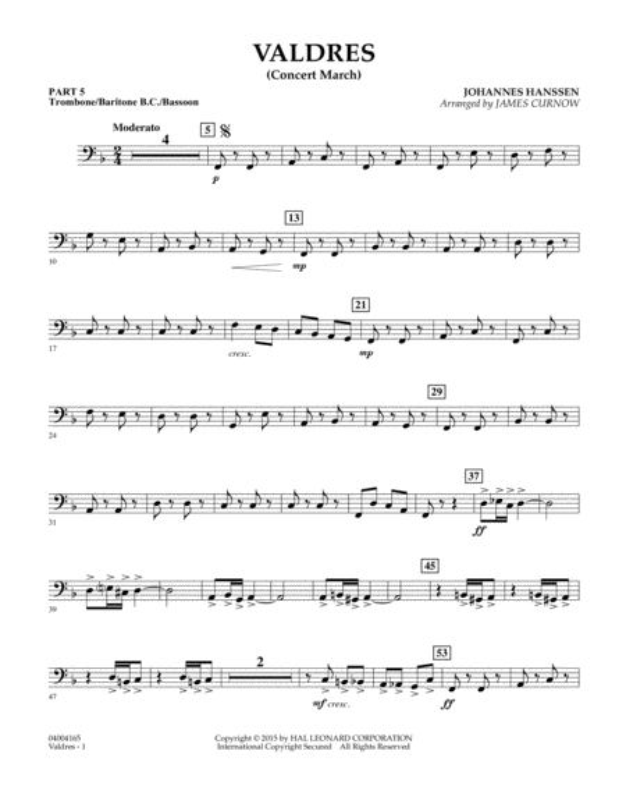 Valdres (Concert March) - Pt.5 - Trombone/Bar. B.C./Bsn.