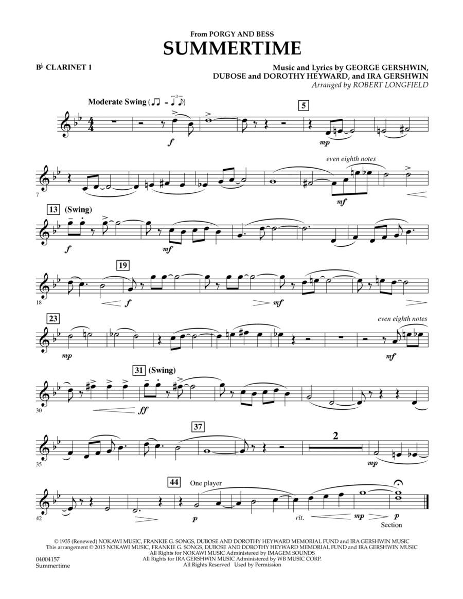 Summertime (from Porgy and Bess) - Bb Clarinet 1