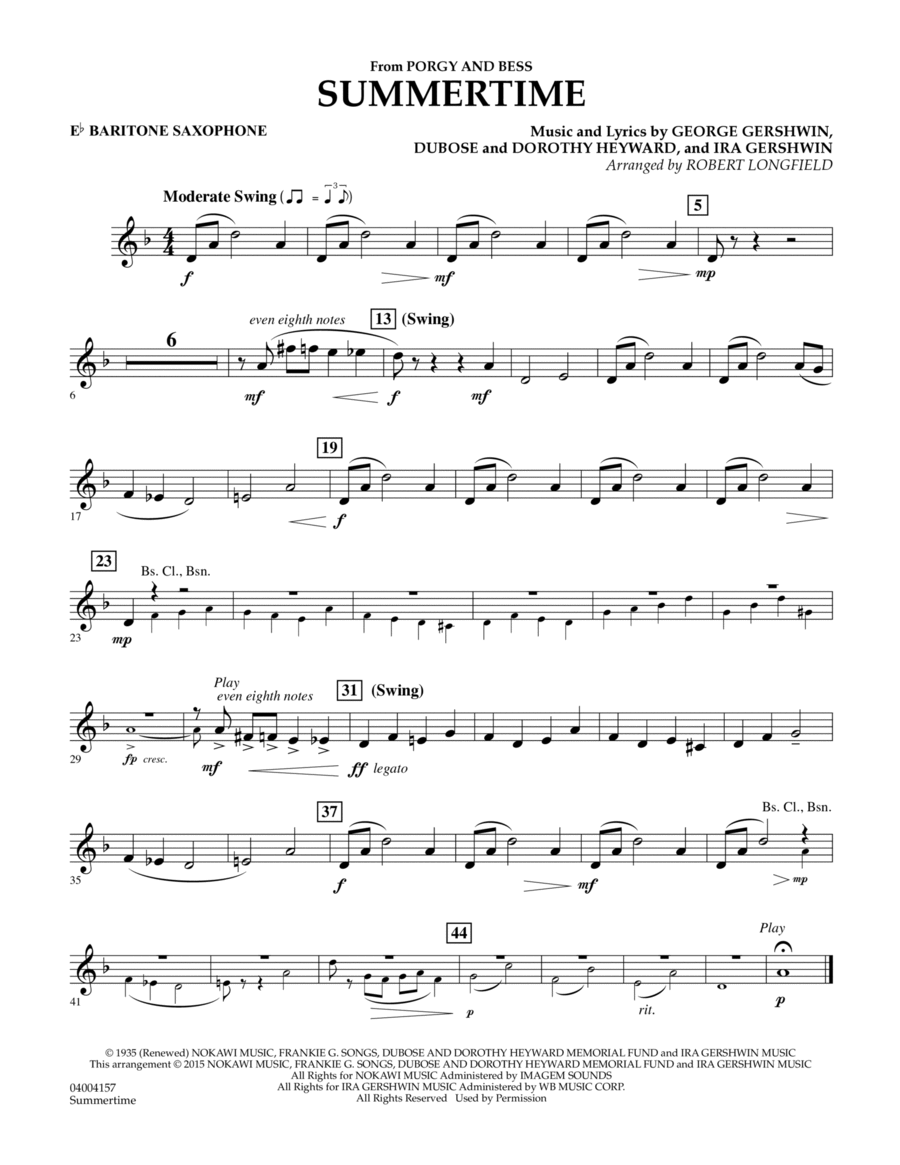 Summertime (from Porgy and Bess) - Eb Baritone Saxophone